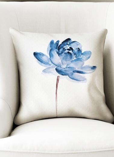 Lyn Home & Decor Mavi Lotus Sol Yastık Kılıfı Renkli